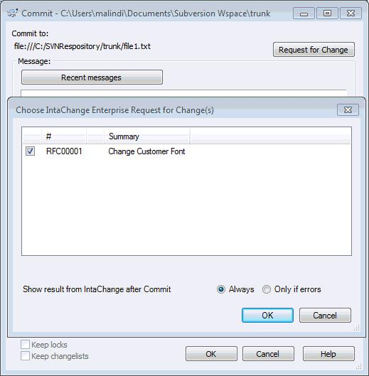 IntaChange Enterprise Choose request for change