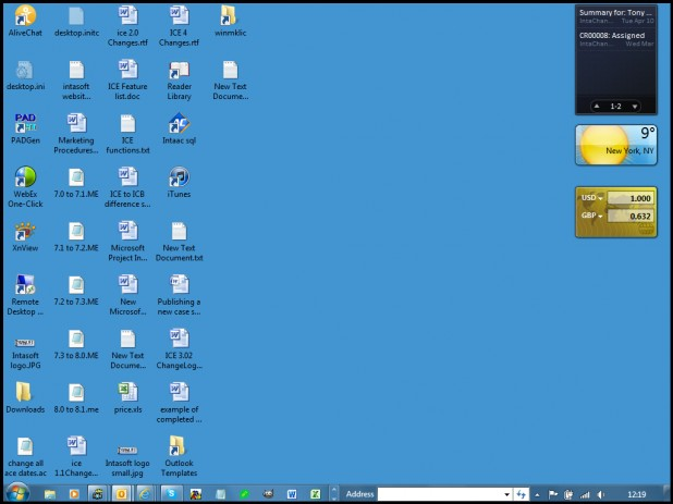 A desktop view showing the windows 7 gadget enabling the user to be kept informed with out logging in