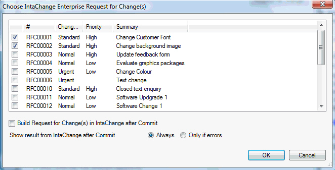 Enables the user to select which changes are relevant to the files being edited in subversion